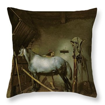 Horse In A Stable Throw Pillow by Gerard Terborch