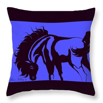 Horse In Blue And Black Throw Pillow