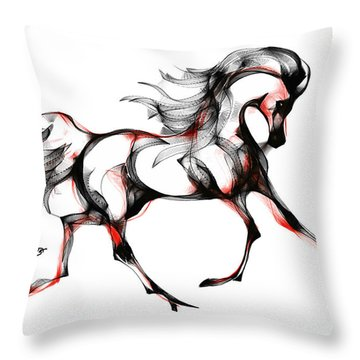 Horse In Extended Trot Throw Pillow