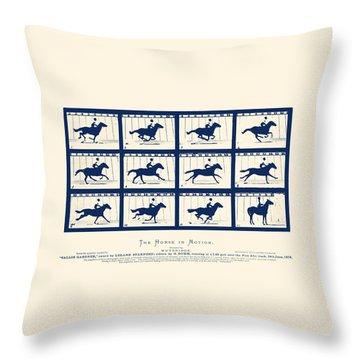 Horse In Motion - Sallie Gardner At A Gallop Throw Pillow