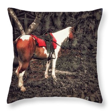 Horse In Red Throw Pillow