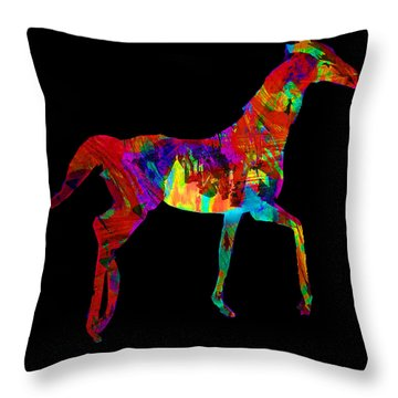 Horse Throw Pillow by James Bethanis