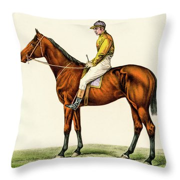 Horse Jockey Throw Pillow