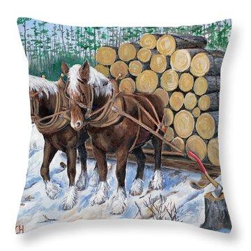 Horse Log Team Throw Pillow