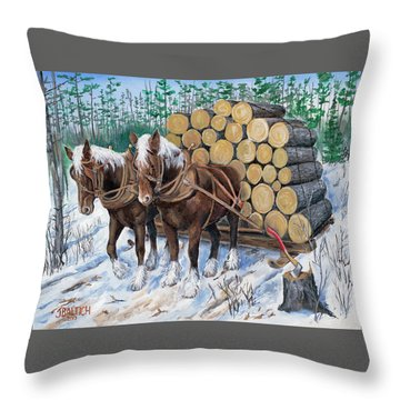 Horse Log Team Throw Pillow