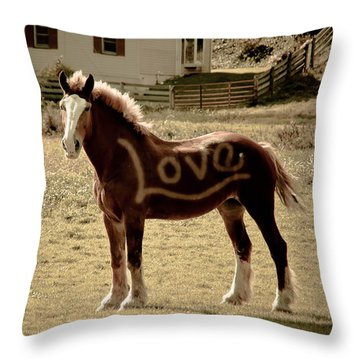 Horse Love Throw Pillow by Trish Tritz