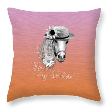 Horse Of A Different Color Throw Pillow by Cindy Anderson
