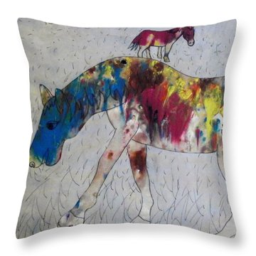 Throw Pillow featuring the painting Horse Of A Different Color by Thomasina Durkay