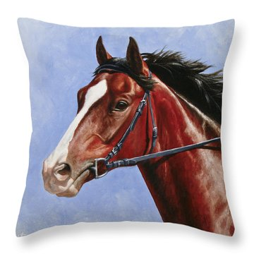 Horse Painting - Determination Throw Pillow