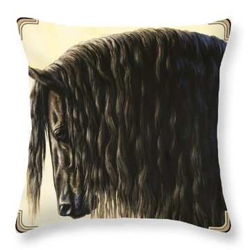 Horse Painting - Friesland Nobility Throw Pillow