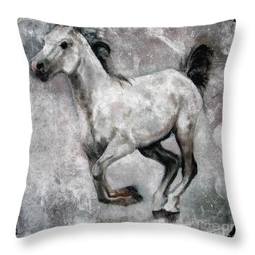 Horse Painting Stallion Lipizzaner Throw Pillow