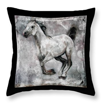 Throw Pillow featuring the painting Horse Painting Stallion Lipizzaner by Ginette Callaway
