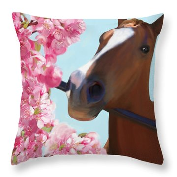 Horse Pink Blossoms Throw Pillow by Julianne Ososke