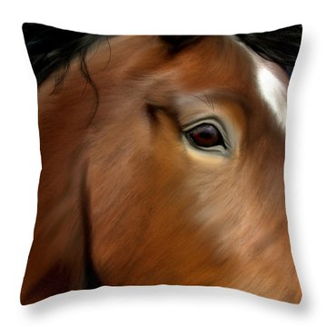 Horse Portrait Close Up Throw Pillow