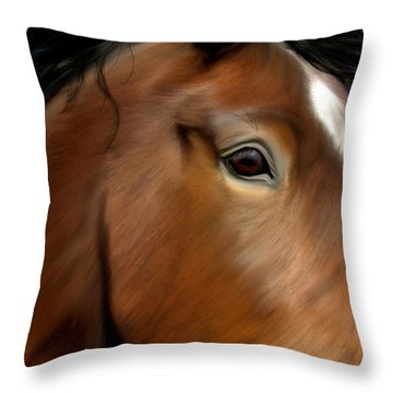 Horse Portrait Close Up Throw Pillow