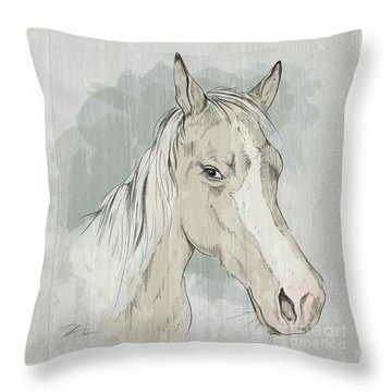 Horse Portrait-farm Animals Throw Pillow