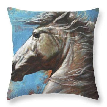 Throw Pillow featuring the painting Horse Power by Harvie Brown