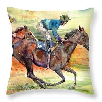 Horse Races Throw Pillow