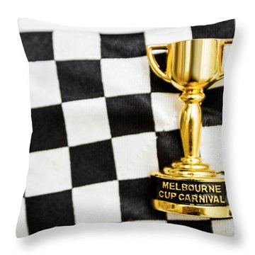 Horse Races Trophy. Melbourne Cup Win Throw Pillow