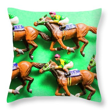 Horse Racing Carnival Throw Pillow