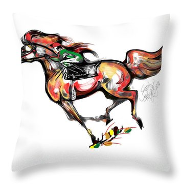 Horse Racing In Fast Colors Throw Pillow by Stacey Mayer