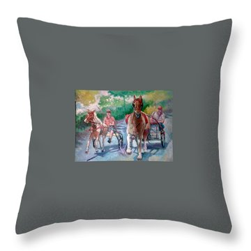 Horse Racing Throw Pillow by Paul Weerasekera