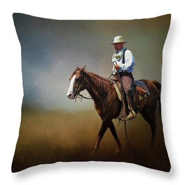 Throw Pillow featuring the photograph Horse Ride At The End Of Day by David and Carol Kelly