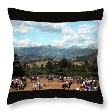 Throw Pillow featuring the photograph Horse Riding In Colorado by Emanuel Tanjala