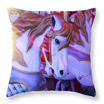 Horse Ride In Shaft Of Light Throw Pillow