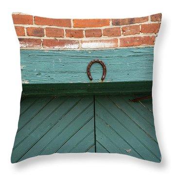Horse Shoe On Old Door Frame Throw Pillow