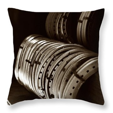 Throw Pillow featuring the photograph Horse Shoes In Sepia by Angela Rath