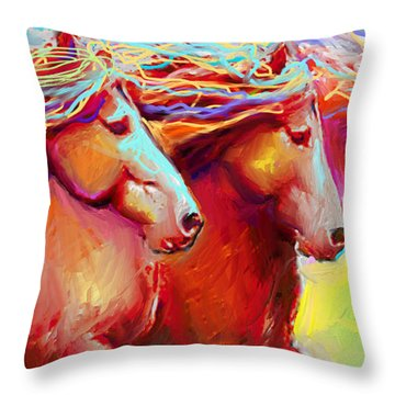 Horse Stampede Painting Throw Pillow
