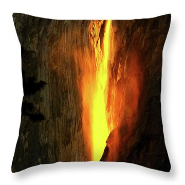 Throw Pillow featuring the photograph Horse Tail Fall Aglow by Greg Norrell