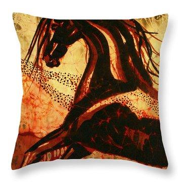 Horse Through Web Of Fire Throw Pillow by Carol Law Conklin