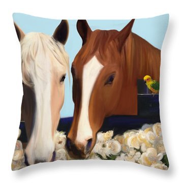 Horse Whispers  Throw Pillow by Julianne  Ososke