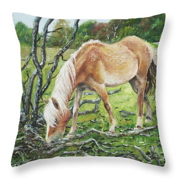 Throw Pillow featuring the painting Horse With Burnt Tree by Martin Davey