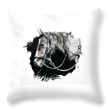 Horse With Rope And Shadows Throw Pillow
