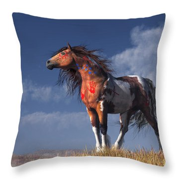 Horse With War Paint Throw Pillow by Daniel Eskridge