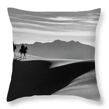Horseback At White Sands Throw Pillow