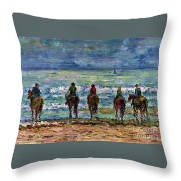 Horseback Beach Memories Throw Pillow