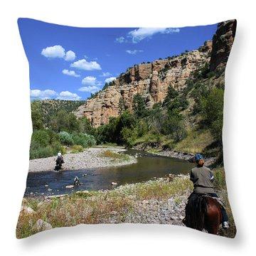 Horseback In The Gila Wilderness Throw Pillow