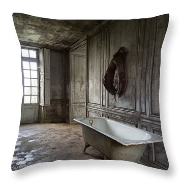 Horseback Rider Bath Tub - Urban Exploration Throw Pillow by Dirk Ercken