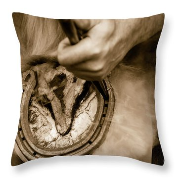 Horsehoe Fitting Throw Pillow