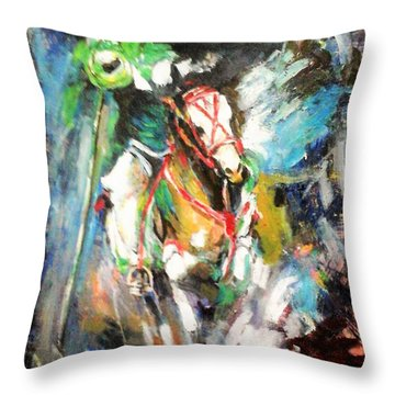 Horse,horseman And The Target Throw Pillow