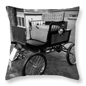 Horseless Carriage-bw Throw Pillow