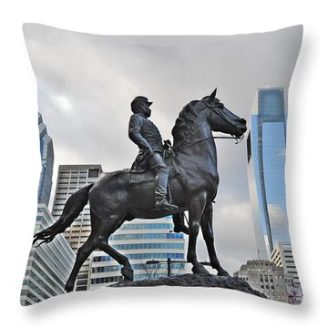 Horseman Between Sky Scrapers Throw Pillow by Bill Cannon