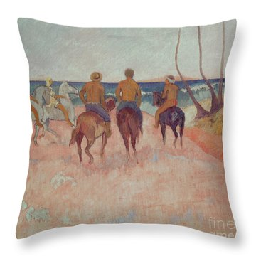 Horseman On The Beach Throw Pillow by Paul Gauguin