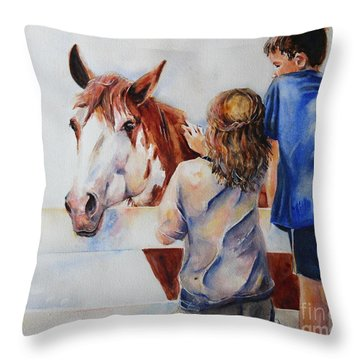 Horses And Children Painting Throw Pillow by Maria's Watercolor