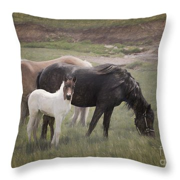 Horses And Colt  Throw Pillow