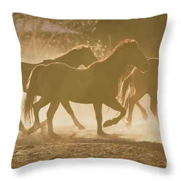Throw Pillow featuring the photograph Horses And Dust by Ana V Ramirez